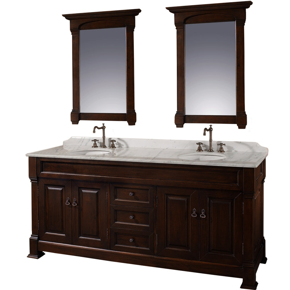 Wyndham Collection Andover Dark Cherry 72 Inch Solid Oak Double Bathroom Vanity Free Shipping
