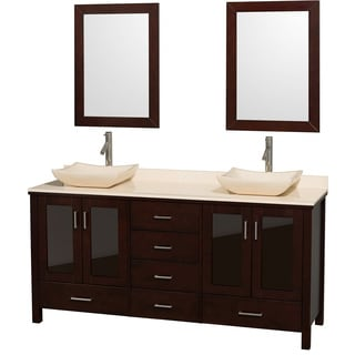 Wyndham Collection Lucy Espresso 72-Inch Solid Oak Double Bathroom Vanity