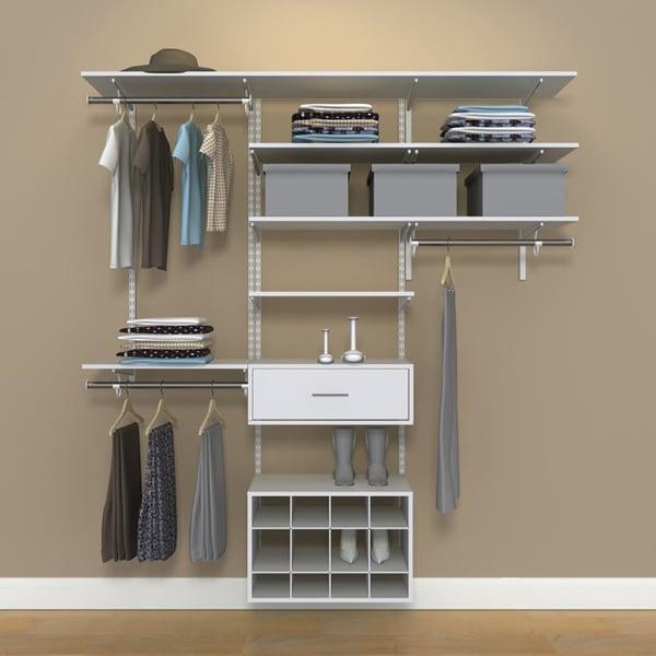 Awesome Freedomrail Closet #21 - Organized Living FreedomRail 6-foot White Wood Closet Kit