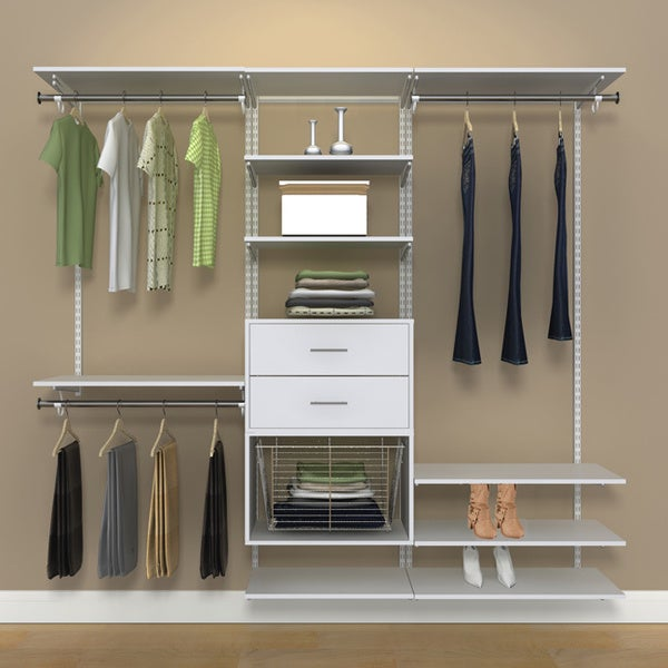 Organized Living Freedomrail 7 Foot White Wood Closet Kit