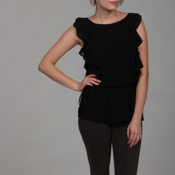 Dylan & Rose Junior's Black Ruffle Cinched Top