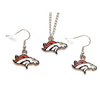 NFL Denver Broncos Necklace and Dangle Earring Charm Set NFL