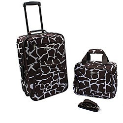 Rockland Deluxe Giraffe Lightweight 2-Piece Carry-On Luggage Set
