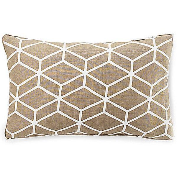 """Handmade Bethe Tile Light Brown Linen Decorative Pillow - 12"""" x 20"""""""