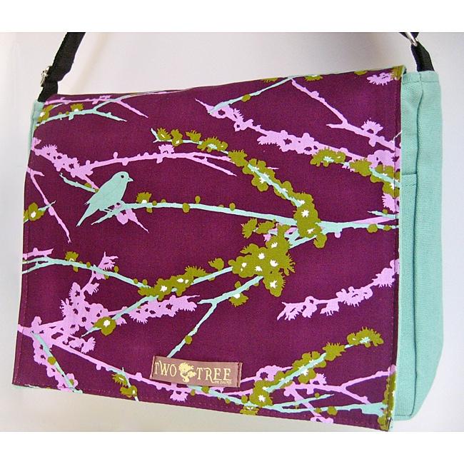 Handmade Medium Blue Bird Messenger Bag