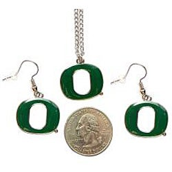 Oregon Ducks Necklace and Dangle Earring Charm Set NCAA - Thumbnail 1