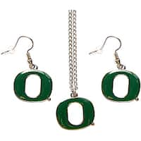 Oregon Ducks Necklace and Dangle Earring Charm Set NCAA
