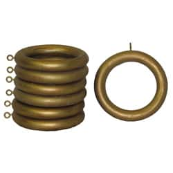 Wood 2-inch Historical Gold Curtain Rings (Set of 7)
