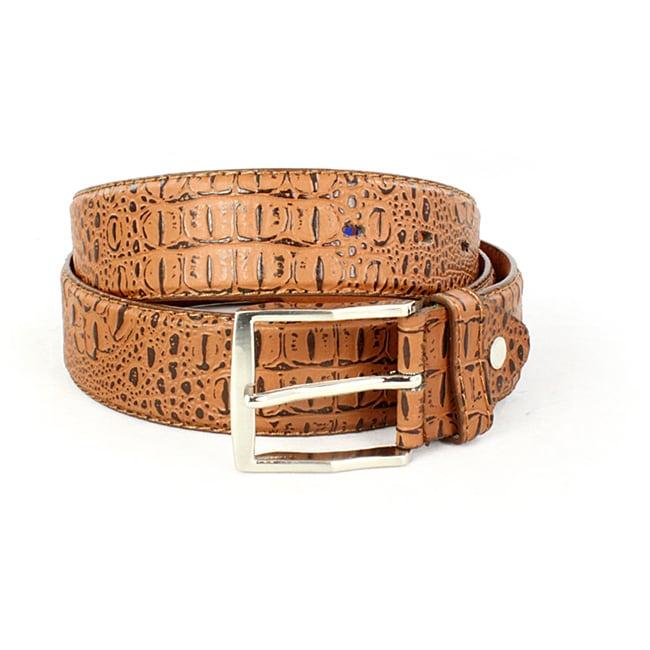 Faddism Men's CrocodileTexture Tan Belt (XL)