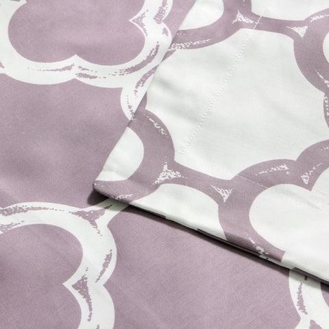 Lyon 300-thread Count Cotton Percale Trellis Patterned 3-piece Duvet Cover Set