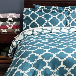 Lyon 300-thread Count Cotton Percale Trellis Patterned 3-piece Duvet Cover Set