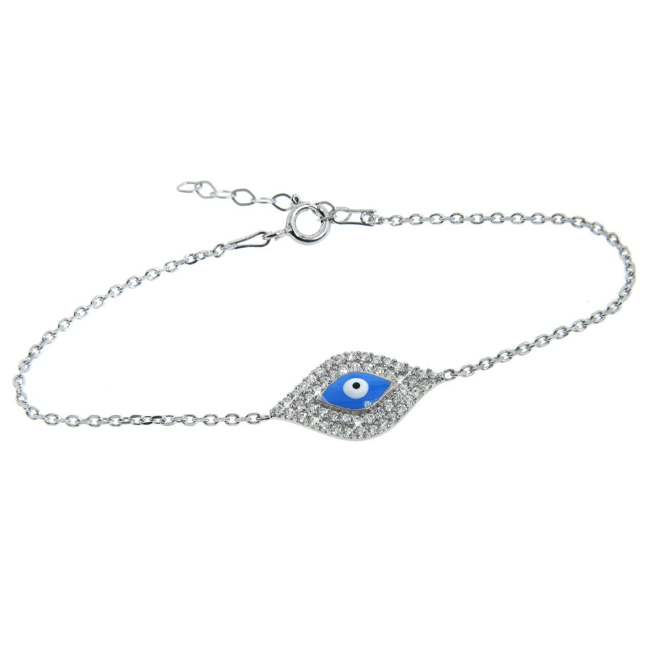 Eternally Haute Sterling Silver Cubic Zirconia Aqua Evil Eye Bracelet