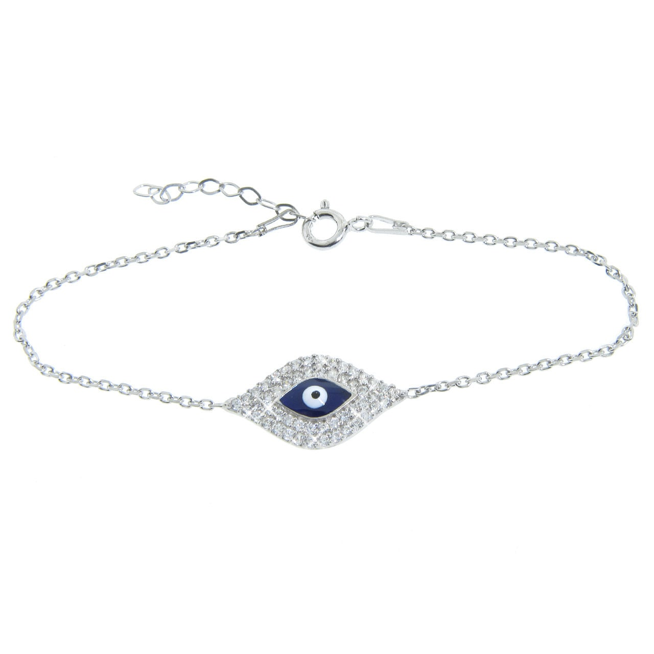 Eternally Haute Sterling Silver Cubic Zirconia Blue Evil Eye Bracelet
