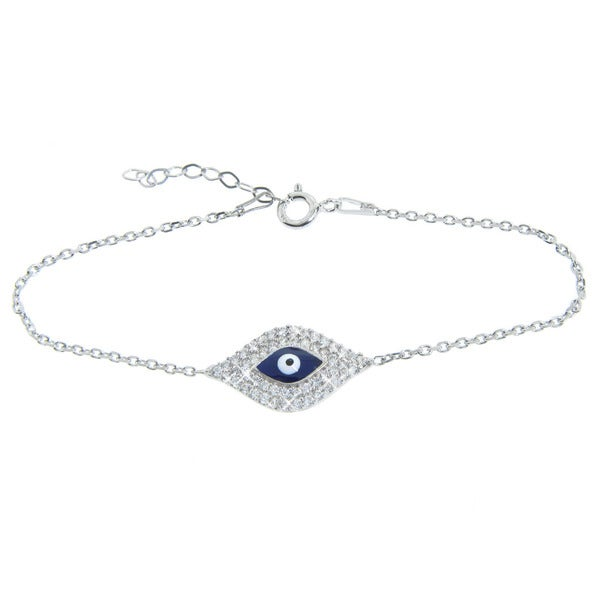 Eternally Haute Sterling Silver Cubic Zirconia Blue Evil Eye Bracelet