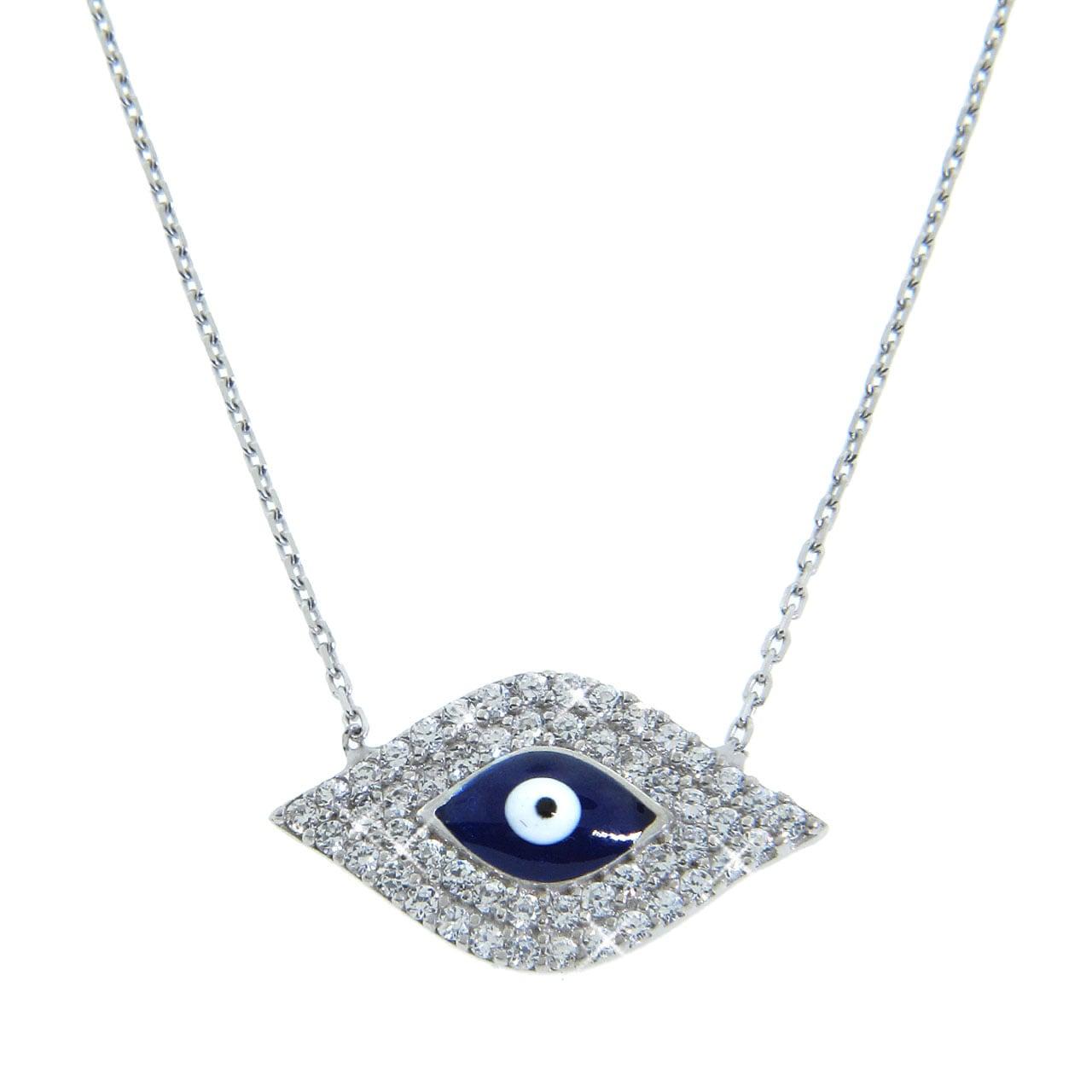 Eternally Haute Sterling Silver Cubic Zirconia Blue Evil Eye Necklace