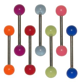 Supreme Jewelry Barbell Tongue Ring with Colorful UV Acrylic Ball (Pack of 7)