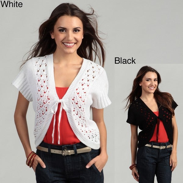 Cable & Gauge Women's Short Sleeve Tie Front Cardigan