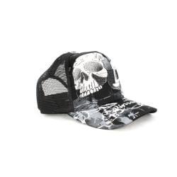 Faddism Unisex Black White Twin Skull Baseball Cap - Thumbnail 2
