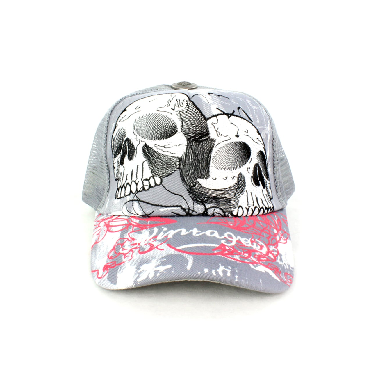 Faddism Unisex Gray Skull Baseball Cap