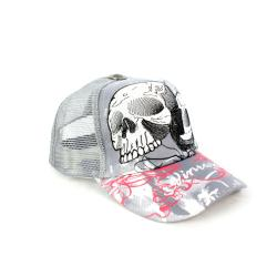 Faddism Unisex Gray Skull Baseball Cap - Thumbnail 2