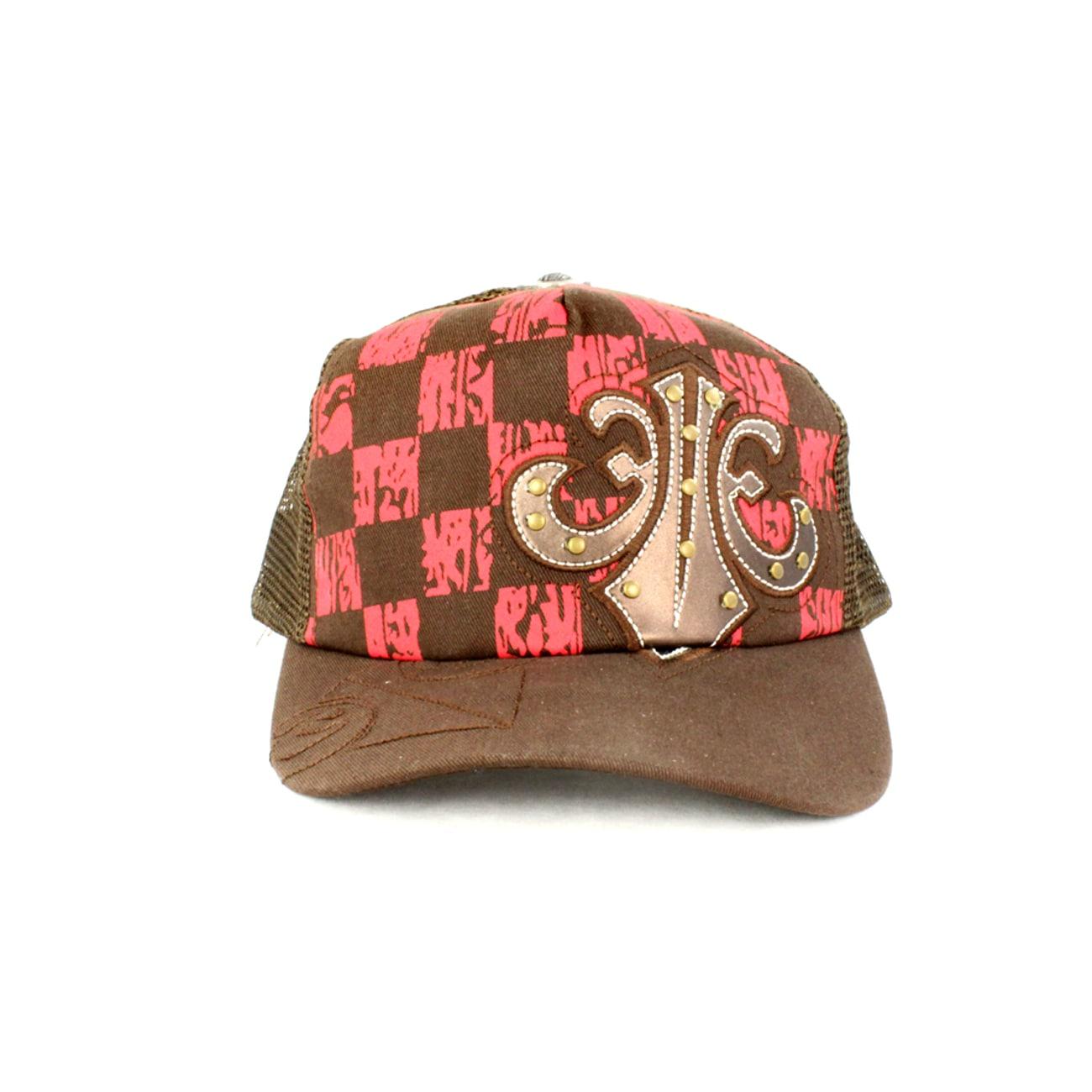 Faddism Unisex Brown/Red Checkered Fashion Baseball Cap