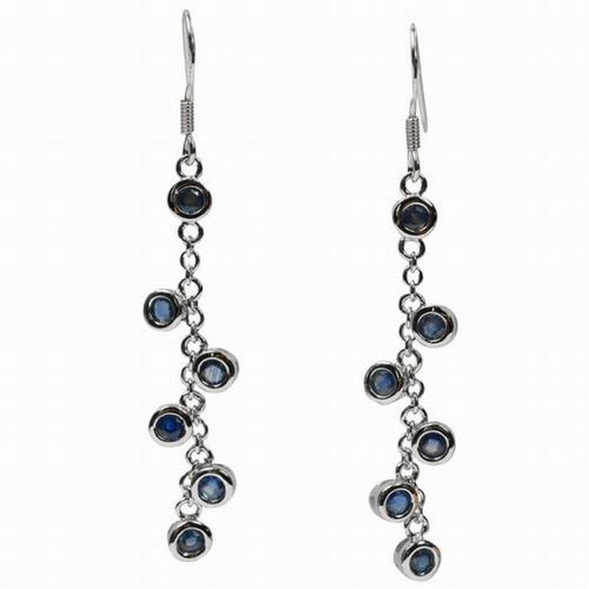 De Buman Sterling Silver Blue Sapphire Earrings