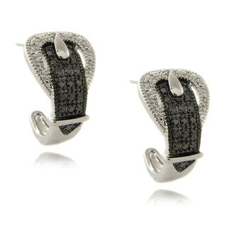 Finesque Diamond Accent Black and White Buckle Hoop Earrings