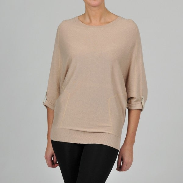 Grace Elements Women's Roll Tab Dolman Sleeve Sweater