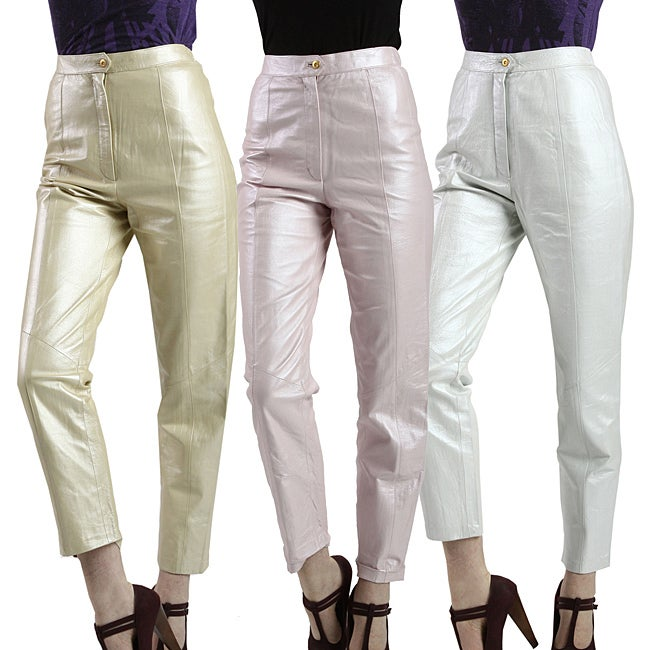 United Face Womens Soft Pearl Shine Genuine Leather Pants