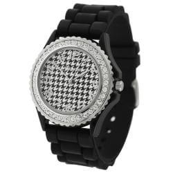 Geneva Platinum Women's Houndstooth Rhinestone Silicone Watch