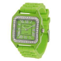 Green Geneva Platinum Women's Square-Shaped Rhinestone Silicone Watch