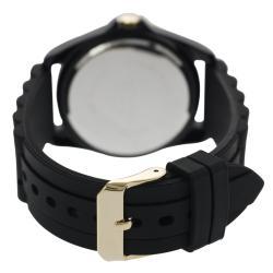 Geneva Platinum Women's Chronograph-Style Black Silicone Watch