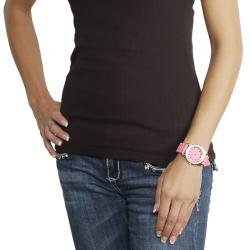 Geneva Platinum Women's Rhinestone-Accented Melon Silicone Watch - Thumbnail 2