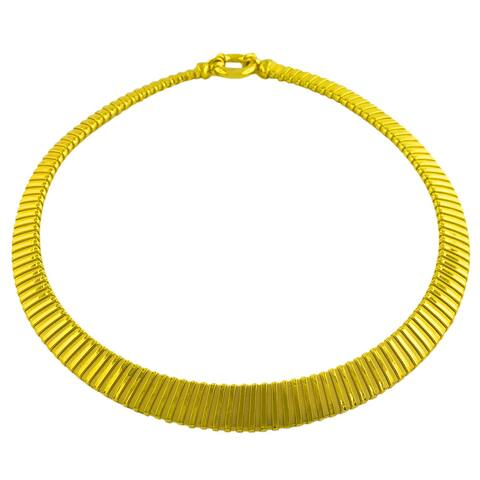 Fremada Gold over Sterling Silver Graduated Fancy Omega Necklace