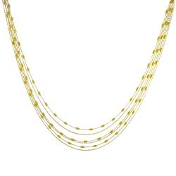 Fremada Gold over Sterling Silver 6-strand Bead Station Necklace