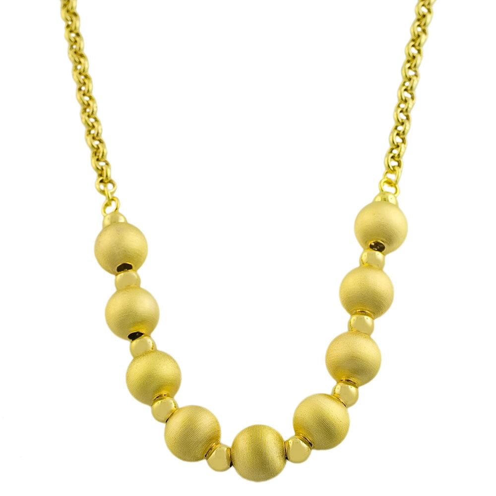 Fremada Gold over Sterling Silver Satin Bead Necklace (18...