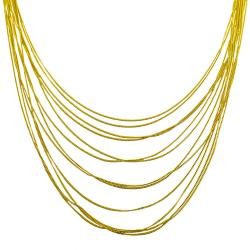 Fremada Gold over Sterling Silver Multi-layered Curb Adjustable Necklace