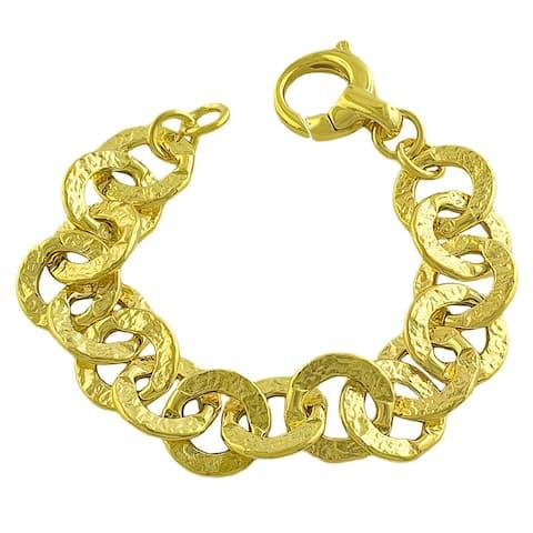 Fremada Gold over Silver Hammered Flat Rolo Link Bracelet
