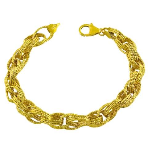 Fremada Gold over Silver 3-row Diamond-cut Oval Link Bracelet