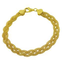 Fremada Gold over Sterling Silver Braided Mesh Bracelet