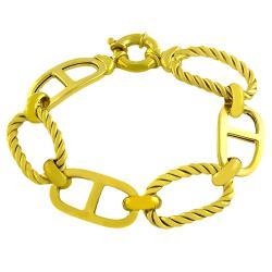 Fremada Gold over Silver Braided Fancy Link Bracelet