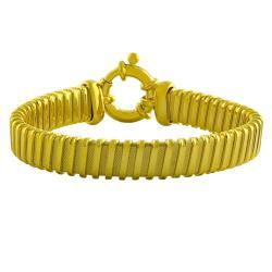 Fremada Gold over Silver Textured/ Polished Fancy Bracelet