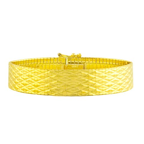 Fremada Gold over Silver 12-mm Diamond-cut Cubetto Bracelet