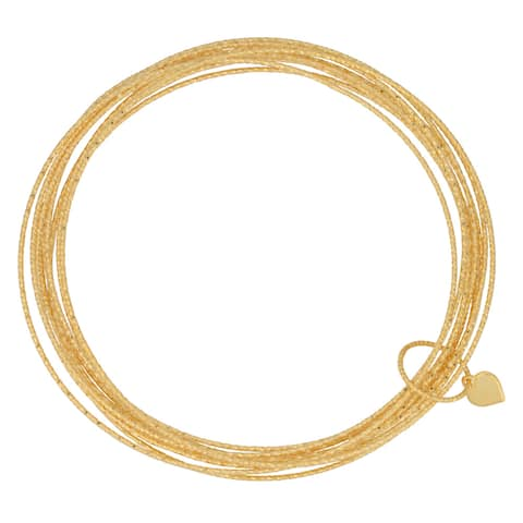 Fremada Gold over Silver Diamond-cut 10-piece Slip-on Bangle Bracelet Set