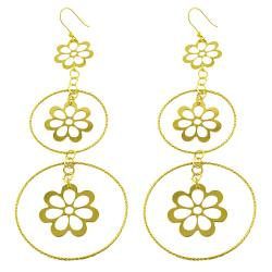 Fremada Gold over Silver Graduated Flowers/ Rings Dangle Earrings