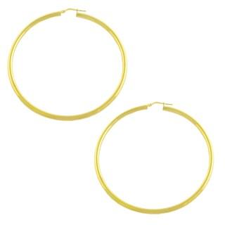 Fremada Gold over Silver 3x60-mm Tube Hoop Earrings