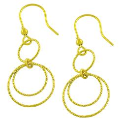 Fremada Gold over Silver Diamond-cut Multi-loop Dangle Earrings