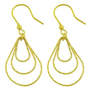 Fremada 18-karat Yellow Gold over Sterling Silver Diamond-cut Graduated Tear Drop Dangle Earrings