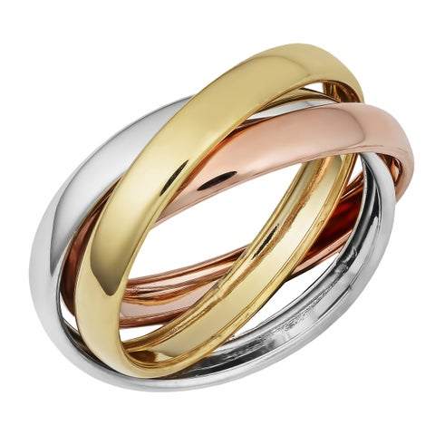 Fremada Gold over Sterling Silver Interlocked Rolling Rings