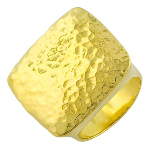 Fremada Gold over Sterling Silver Hammered Etro-style Ring